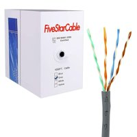 Five Star Cable Cat5 1000 Ft Ethernet Cable Wire UTP 24AWG CCA Twisted Pair Networking Bulk Cable Grey