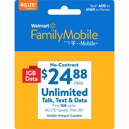 Walmart Family Mobile $24.88 Unlimited Monthly Plan (with up to 1GB at high speed, then 2G*) w Mobile Hotspot Capable (Email Delivery)](huawei mobile wifi hotspot)