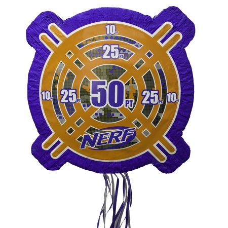 (2 Pack) Nerf Party Pinata, Pull String, 19.5 x 19.5 in, 1ct