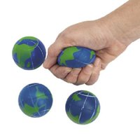 Lot of 12 Foam Relaxable Stress Relief Ball Earth Globe Design