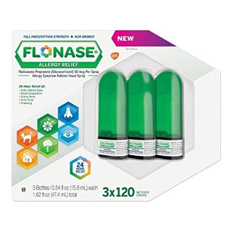 Flonase Allergy Relief Nasal Spray, 120 Count Pack of 3 ,