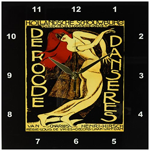 3dRose print of Dutch art deco dance poster, Wall Clock, 10 by 10-inch