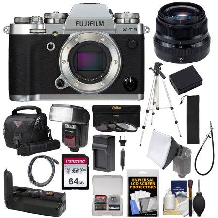 Fujifilm X-T3 4K Wi-Fi Digital Camera Body (Silver) with 35mm f/2 0 XF Lens  + VG-XT3 Grip + 64GB + Battery/Charger + Tripod + Flash + Case Kit