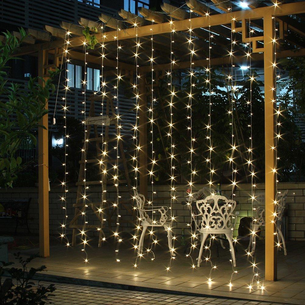 Curtain christmas lights - Agptek 300 Led Outdoor Fairy Curtains String Light For Xmas Wedding Party Walmart Com