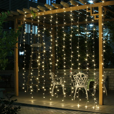 AGPtek 300 LED Outdoor Fairy Curtains String light for Xmas Wedding Party (Best Black Lights For Parties)