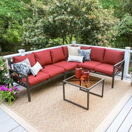 Leisure Made Blakely Aluminum 5 Piece Corner Sectional Patio Conversation Set ()
