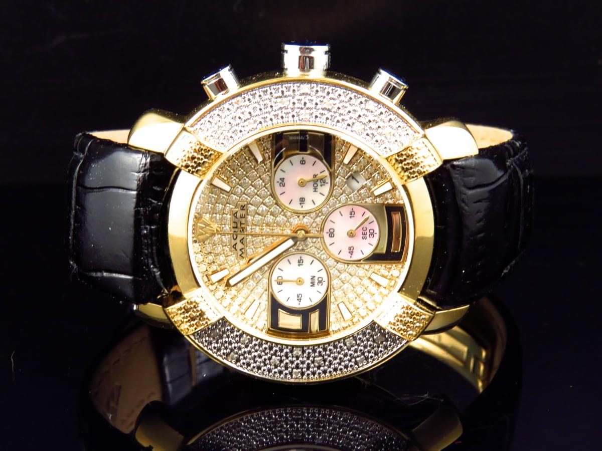 Aqua master mens duo toned aqua master black leather diamond watch w 96 for Aqua marine watches
