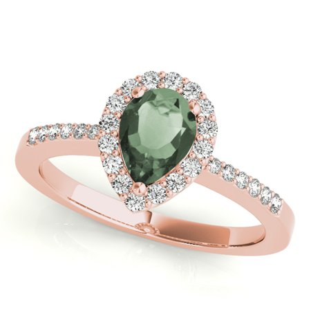 1.40 Ct Diamond & Pear Shaped Green Amethyst Engagement/Wedding Ring - 10K Gold