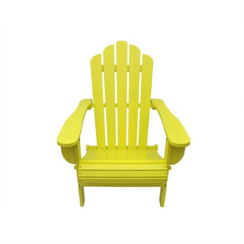 "37.5"" Yellow Wood Folding Outdoor Patio Adirondack Chair"