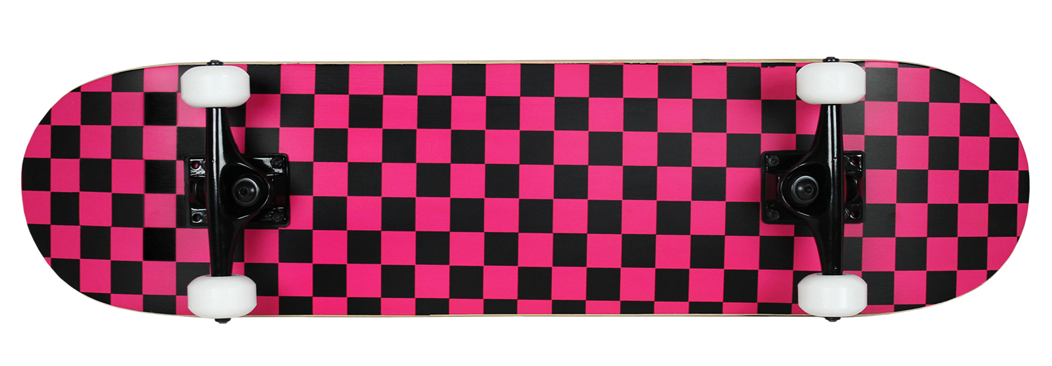 Krown Skateboard Rookie Checker Black Pink Complete by Krown