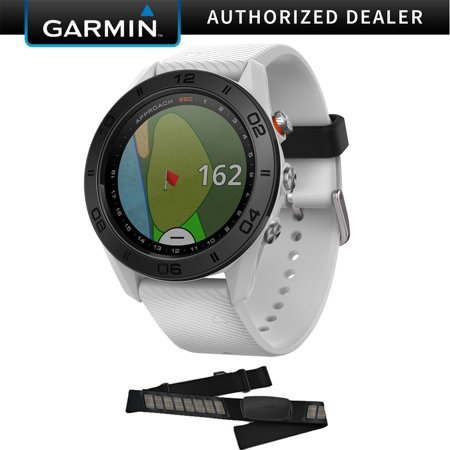 Garmin Approach S60 Golf Watch White with White Band (010-01702-01) with Garmin HRM-Dual Heart Rate