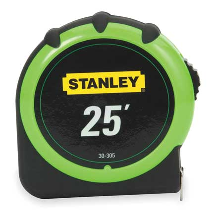 STANLEY Tape Measure,1 In x 25 ft,Green/Black 30-305