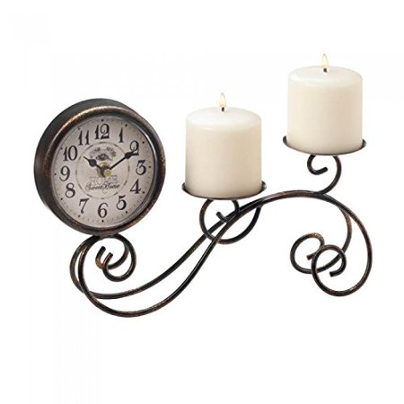 Clocks SCROLLWORK TABLE CLOCK & CANDLEHOLDER Candles Pillar Candle Light Desk Table Bar Shelf Mantle Gift Time Home Sweet Home Vintage Style look Iron Paper Glass, By 25 Home Decor from USA](Fall Mantel Decor)