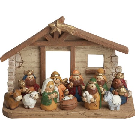 Transpac 12 Piece Kids Nativity with Cr che Set - Child Nativity Set