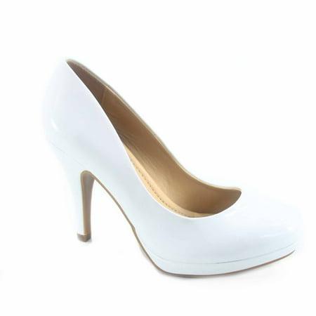 Jack-h Women's Patent Glitter Round Toe Low Platform High Heel Pump Dress (Stretch Patent Thigh High Platforms)