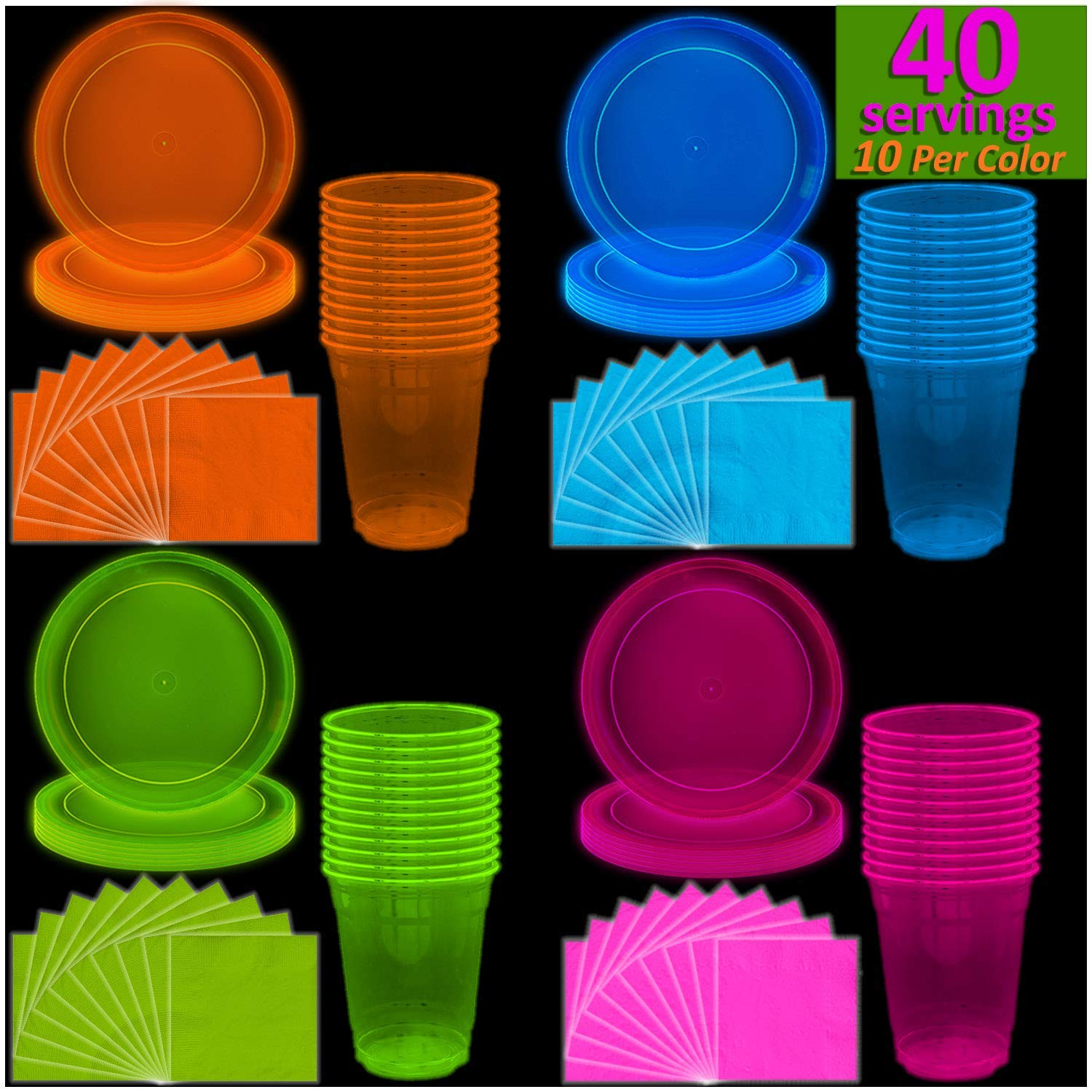 8 ~ Supplies Dinner Luncheon Neon HAPPY BIRTHDAY Glow Party LARGE PAPER PLATES