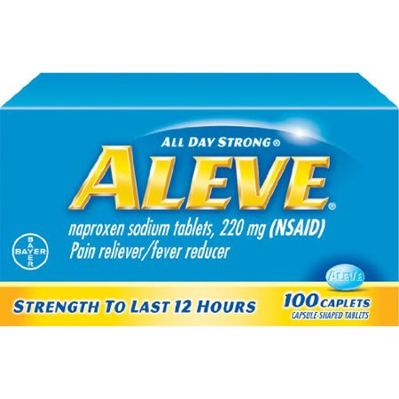 Day Pain Relief Caplets (2 Pack - Aleve All Day Pain Relief & Fever Reducer - 100 Caplets Each)