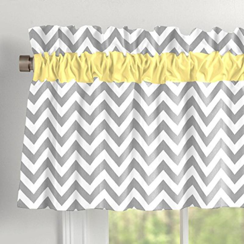 Carousel Gray and Yellow Zig Zag Window Valance Rod Pocket