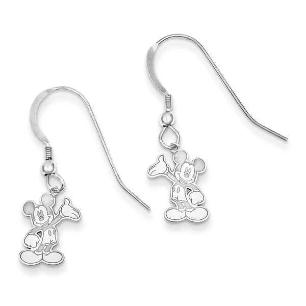Sterling Silver Disney Waving Mickey Dangle Wire Earrings