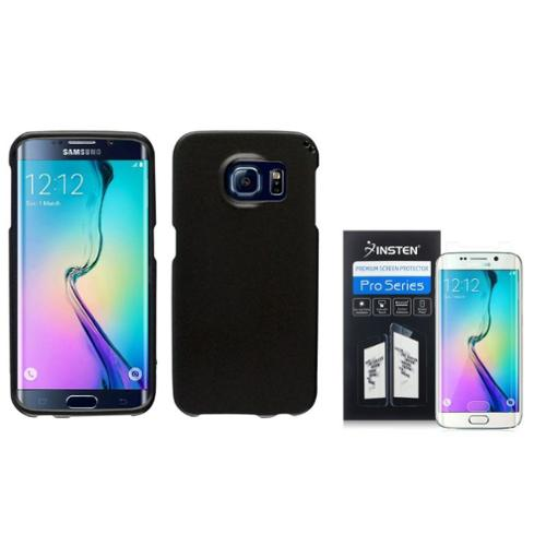 Insten For Samsung Galaxy S6 Edge Metallic Hard Slim Snap-on Cover Case+Protector Black