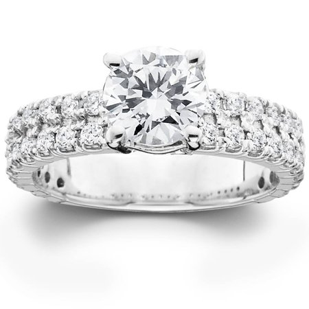2 3/8ct Solitaire Diamond Double Row Engagement Ring 14K White Gold (2 Carrot Diamond Engagement Ring)