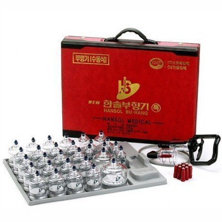 Hansol Professional Cupping Therapy Equipment 30 Cups Set with pumping handle and Extension (Made -