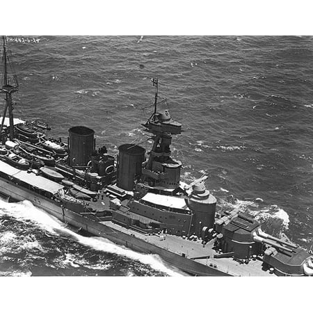 Hms Hood (LAMINATED POSTER British battlecruiser HMS Hood Original description: Aerial view of the ship's starboard midships ar Poster Print 24 x 36)