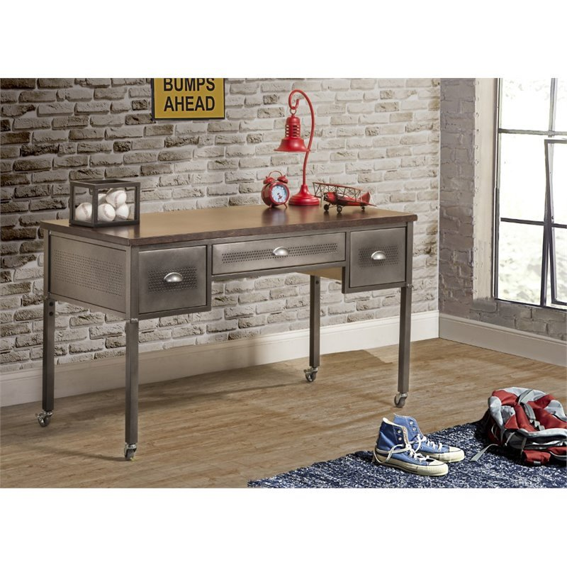 Hawthorne Collections Home Office Desk in Black Steel