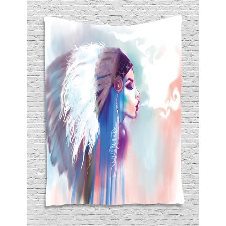 Native American Tapestry, Girl Smoking Pipe with Traditional Clothes Abstract Watercolor Background, Wall Hanging for Bedroom Living Room Dorm Decor, Multicolor, by Ambesonne - Native Girls