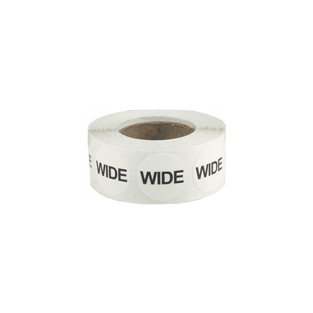 White Wide Shoe Size Circle Dot Stickers, 3/4 Inch Round, 500 Labels on a Roll