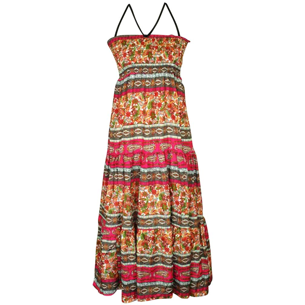 Luxury Divas Boho Style Multicolor Print Sundress With Smocked Bust