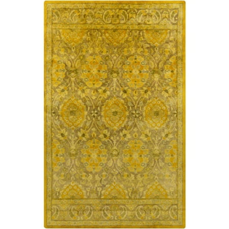 2 X 3 Berber Garden Golden Yellow And Olive Green Hand Tufted Area Throw Rug