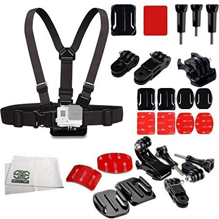 SSE® Snowmobiling Accessory Kit for GoPro Hero+, Hero4 Session, Hero4, Hero3+, Hero3 (Black, Silver & White), Hero & Hero+ LCD. Includes Curved Adhesive Helmet Side Mount Kit + Chest Strap + (Best Gopro Setting For Snowmobiling)