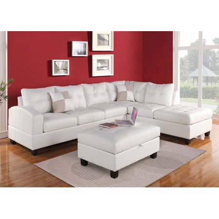 Kiva Sectional White Sofa Couch Chaise Tufted Bonded Leather Plush Cushion Pillows Living Room Furniture