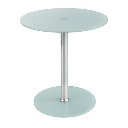 Lot of 12 Safco Modern Tempered Glass Steel Base Chrome pedestal Accent End Table-5095WH