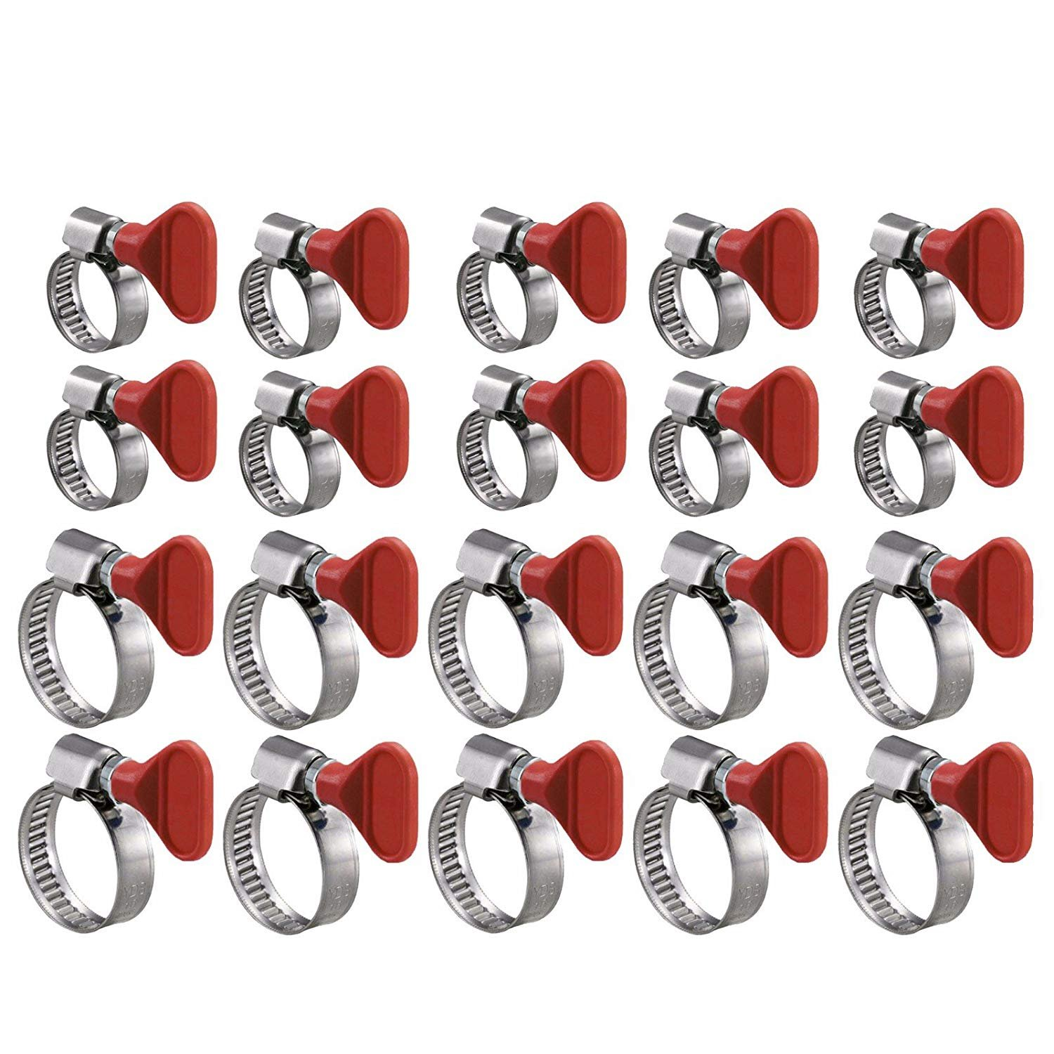 "Wideskall® 20 Pieces Key Type Twist Adjustable Stainless Steel Hose Clamp Set Kit (1"" + 1-1/2"")"