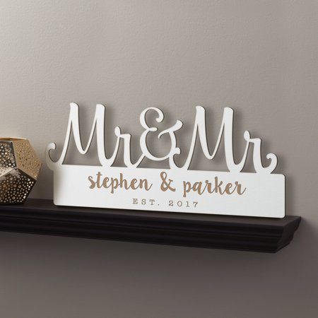 Personalized White Wood Plaque - Mr. & Mrs.