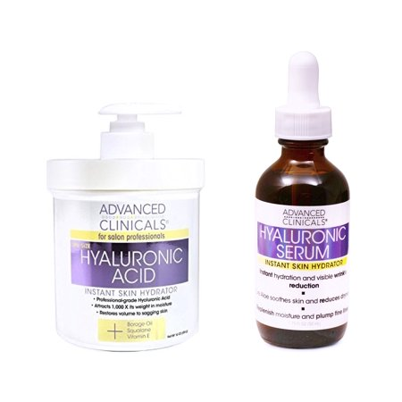 Advanced Clinicals Hyaluronic Acid Cream and Hyaluronic Acid Serum skin care set! Instant hydration for your face and body. Targets wrinkles and fine lines. Spa size 16oz cream and large 1.75oz
