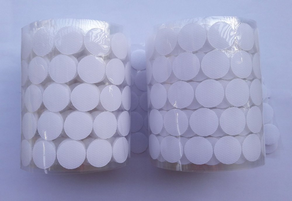 HomeABC 1000pcs Sticky Back Coins Hook Adhesive Tapes 3//4 Diameter White