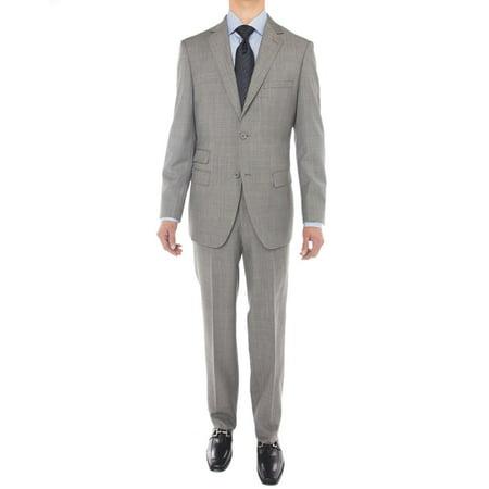 LN LUCIANO NATAZZI Men's Two Button Suit Side Vent Jacket Super 160'S Wool Suit Gray