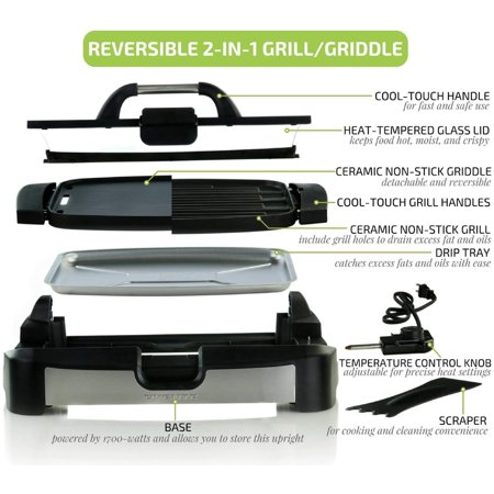 - Ovente Reversible Electric Grill and Griddle with Heat Tempered Glass Lid, Indoor and Outdoor Grilling, 1700 Watts, Black (GR2001B)