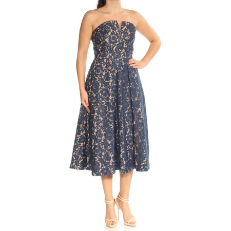 FAME AND PARTNERS Womens Blue Strapless Midi Fit + Flare Formal Dress  Size: 2
