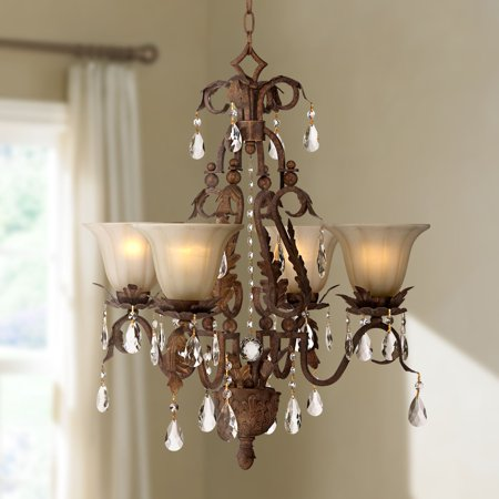 Regency Hill Iron Leaf 4-Light Roman Bronze and Crystal Chandelier