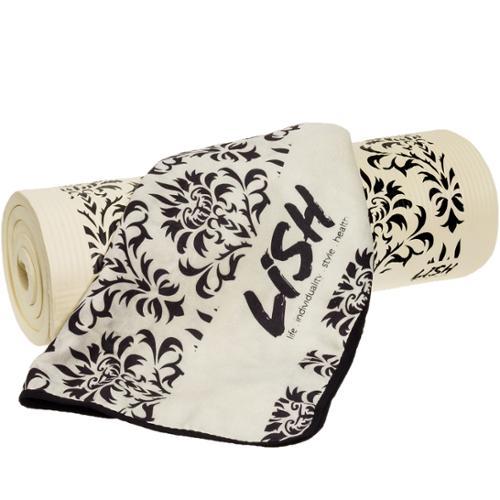 LISH Black/White Damask Nonslip Exercise Pilates Yoga Mat & Microfiber Mat Towel
