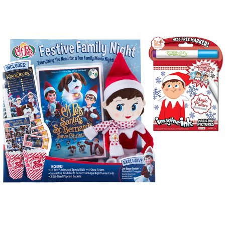 The Elf on the Shelf Festive Family Night with New Santa's St. Bernards save Christmas DVD and Imagin Inc Coloring Book
