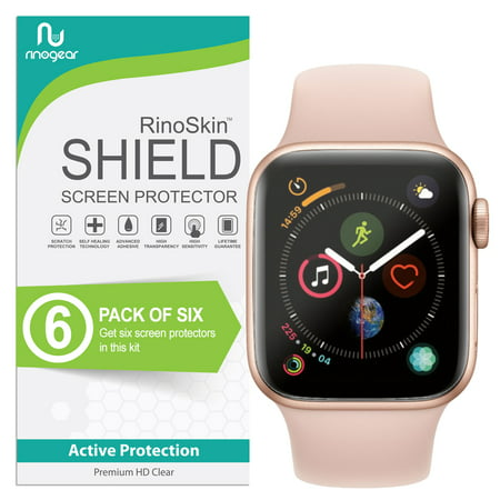 Apple Watch Screen Protector 40mm [6-PACK] (Series 4) [Full Coverage Version] RinoGear Flexible HD Crystal Clear Anti-Bubble Unlimited Replacement Film