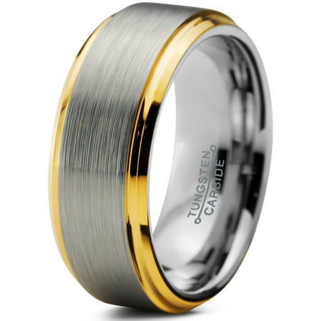 Yellow Gold Plated Edge (Tungsten Wedding Band Ring 8mm for Men Women Comfort Fit 18K Yellow Gold Plated Beveled Edge Brushed Polished Lifetime Guarantee)