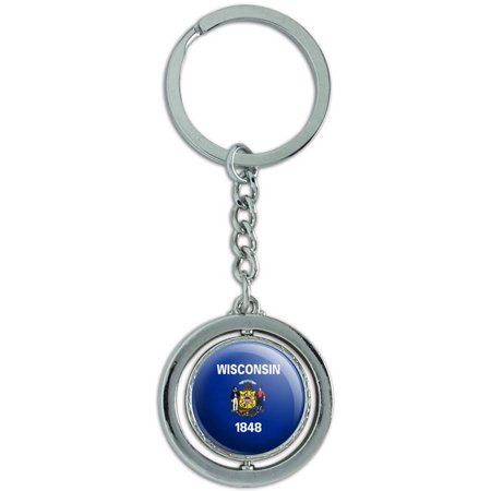 Wisconsin State Flag Spinning Round Metal Key Chain Keychain Ring