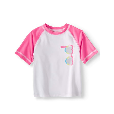 Wonder Nation Short Sleeve Rashguard Swim Shirt (Baby Girls)