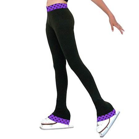 ChloeNoel Black Purple Dot Ice Skating Pants Girls 5-12 Adult XS-XL ()